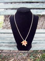 Autumn Leather Leaf Necklace with Gold Findings by Arexandria
