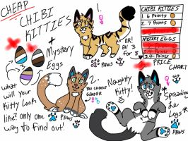 Point adoptables: Chibi Kitties and Mystery Eggs by xXFluffehWolfXx