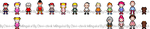 MOTHER_NDS Mario and Luigi BIS style sprites by Chivi-chivik