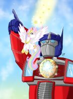 MLP/TF: Celestia and Optimus by KarToon12