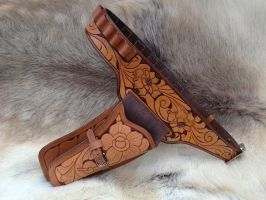 Hand Tooled Leather Holster Belt and Holster 1 by SonsOfPlunderLeather