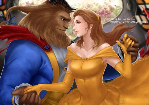 Beauty and the Beast - Belle and Prince by zenkanjia