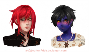My OCs: Rav and Night - portraits by AurionPride