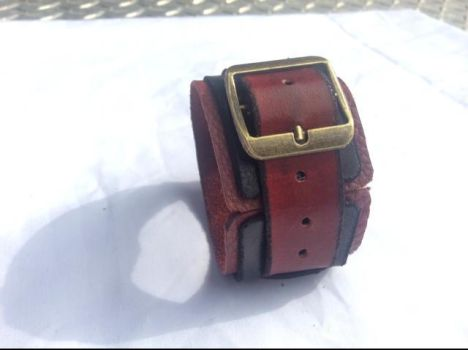 Steampunk-style Red Leather Wristband by Altitude-Artisan