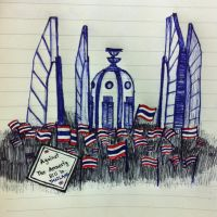 Against the Amnesty Bill in Thailand - Pen drawing by Nichapon