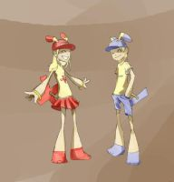 Gijinka: Plusle and Minun by zayyad1453