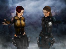 Lara and Doppelganger Croft 06 by Halli-well