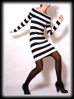 Black White Stripy Mini Dress by yystudio