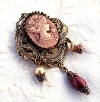 Red Cameo Brass Brooch by Aranwen