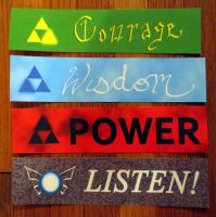 Triforce Bookmarks by hyenacub
