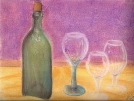 Wine Bottle and Glasses by SpeciosusNihilum