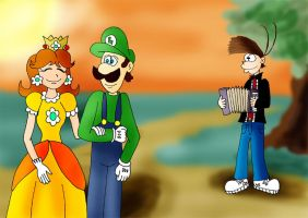 Luigi and Daisy in the park by ZeFrenchM
