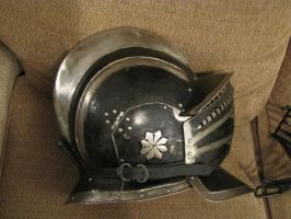 Stainless steel burgonet with three visors by BrianBrownArmoury