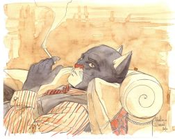 Blacksad artwork coffee by ManuelaSoriani