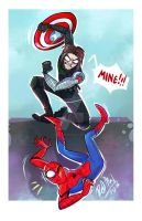 Bucky vs. Spider Man by dragon-flies