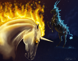 Rapidash vs Zebstrika by Crickatoo