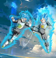 Trunks SSJB vs Vegeta SSJB V2 by orochidaime