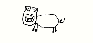 Pig With a Mustache! by CassidyLovesArt