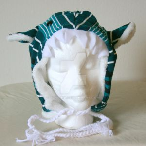 Turquoise Striped Monster Hat by Tzigana