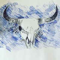 Cow skull art doodle by jenisnotcool
