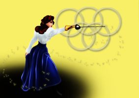 Belle practicing epee by MathildeE