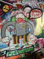Pig the clown graffiti by PIGGHAMMER