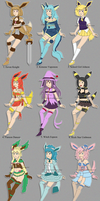 [CLOSED] ADOPTABLES: Eevee evolution gijinka by izka197