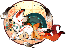 Amaterasu inspired Foxfan by Belliko-art