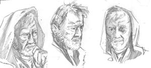 Alec Guinness Studies by tedwoodsart