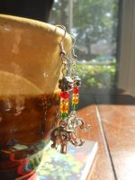 Elephant Earrings with Floral and Bead Accent by dainty-doe