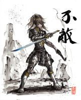 Fallout inspired Samurai Girl with sumi ink by MyCKs