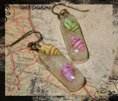 Bright Seashell and Sand Earrings by kelleejm1