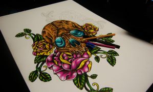 Skull and roses in progress by Nevermore-Ink