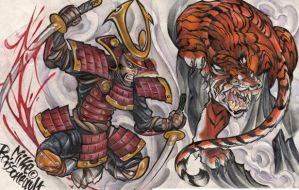 samurai tiger tatoo flash by mikeboissoneault