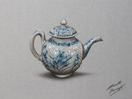 Porcelain Teapot DRAWING by Marcello Barenghi by marcellobarenghi