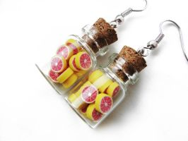 FOR SALE Bottle earrings - Grapefruit by Benia1991