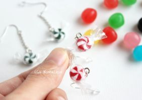 Mini Christmas Candies Handmade Earrings by LaNostalgie05