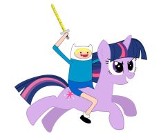 Twilight Sparkle and Finn the Human by KestrelTown