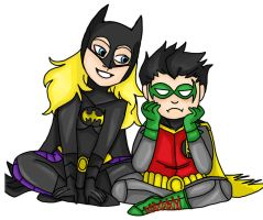 Batgirl and Robin by MonocleBunny