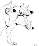 Three Headed Dog- LINEART by crisisastar15
