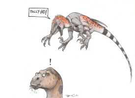 Fancy Friday Dinosaurs Trek On by RobtheDoodler