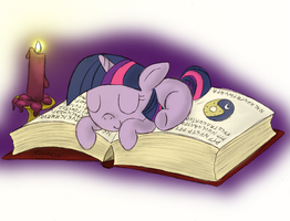 Twilight sleeping on a book by Suahkin