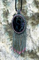 Midnight fairy magic - beaded pendant with onyx by YANKA-arts-n-crafts