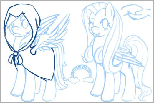Eclipseverse Rainbow Dash and Fluttershy (sketch) by crowmagnon