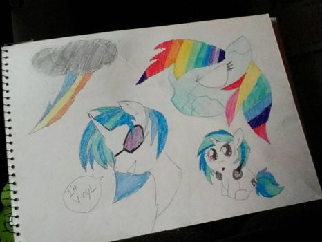 Vinyl, chibi vinyl, Rainbow Dash and her cutiemark by allahlovesme