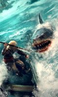 Edward Kenway fighting a shark by OrochimaruXDD