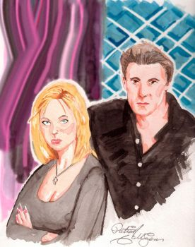 Buffy and Angel by dndpat