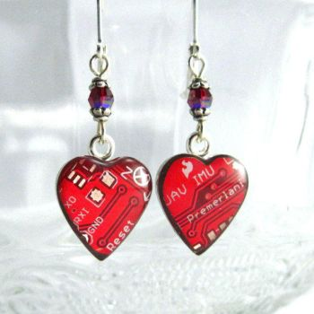 Circuit Board Earrings Domed Red Hearts by Techcycle