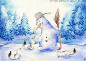 Snowman and Ferets by IceDogKitana