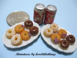 Miniature Donuts - with Coke by ilovelittlethings
